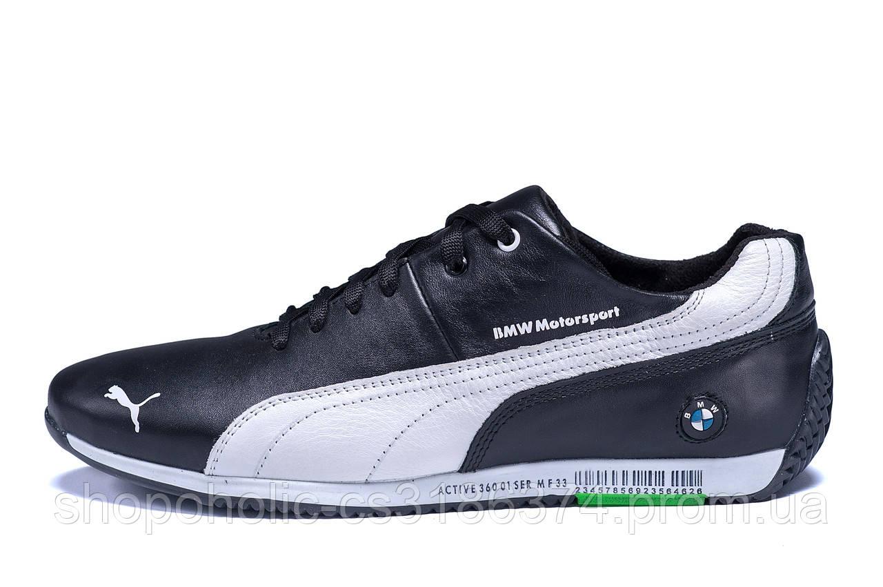 Мужские кожаные кроссовки  Puma BMW MotorSport Black (реплика)