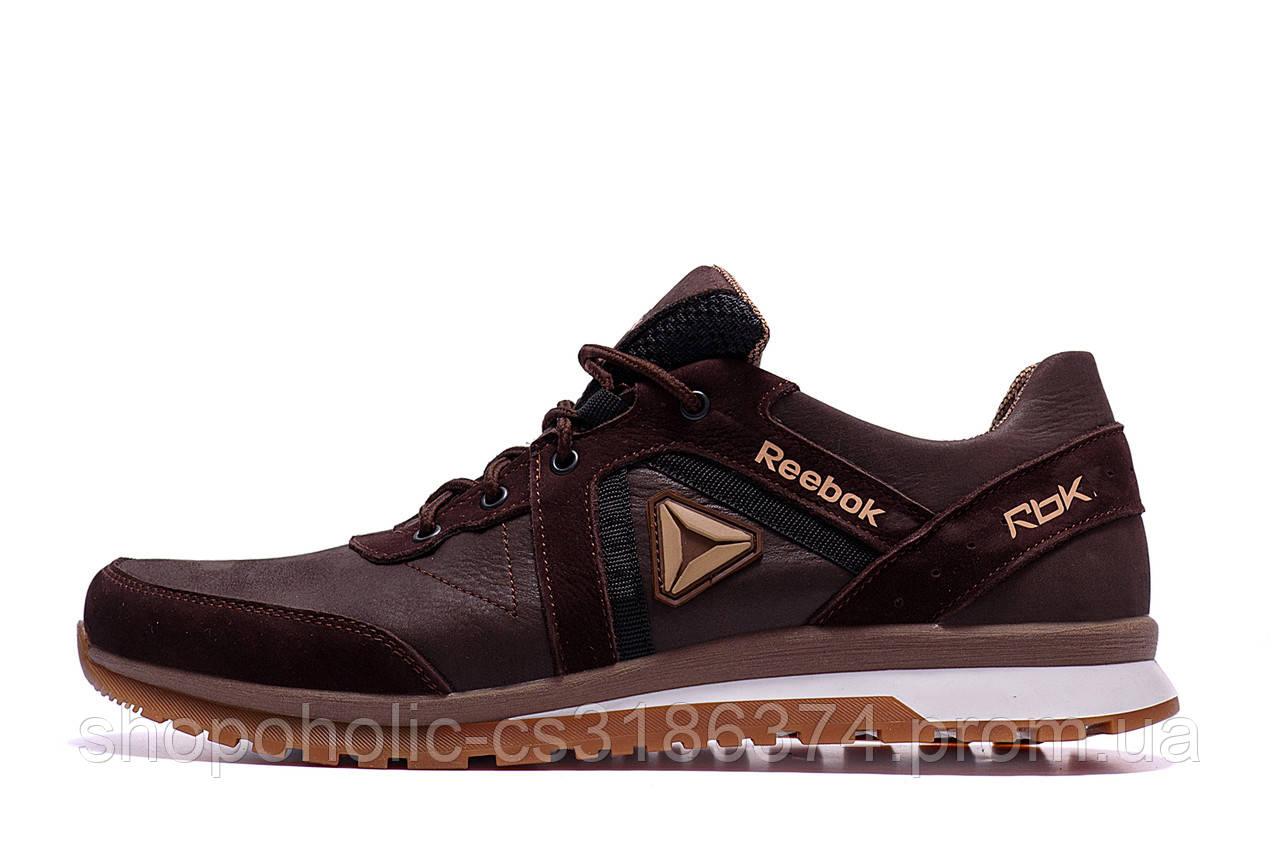 Мужские кожаные кроссовки  Reebok SPRINT TR Brown (реплика)