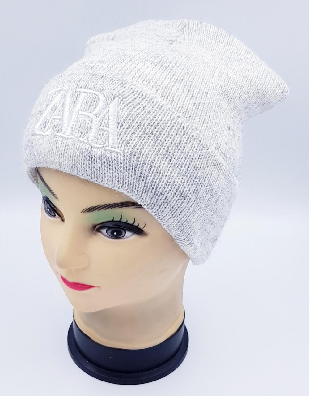 Детская вязаная шапка Klaus Объемная вышивка 53-55см (397-ВА)