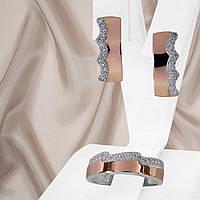 """Витончений жіночий срібний набір прикрас з золотими вставками і білими фіанітами """"Косма"""", фото 1"""