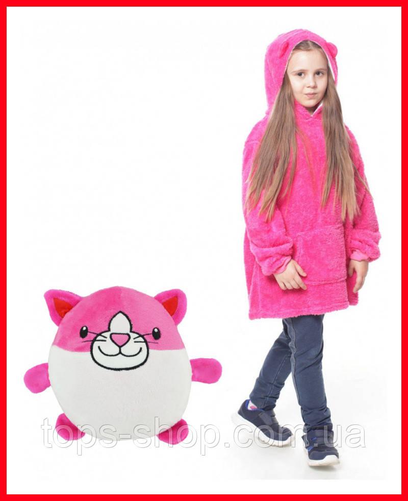 Детская Флисовая Толстовка плед Мягкая Игрушка Балахон с Капюшоном 2в1 для Девочки, Huggle Pets розовая кошка