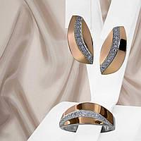 """Ніжний жіночий срібний набір прикрас з золотими вставками і білими фіанітами """"Мелані"""", фото 1"""