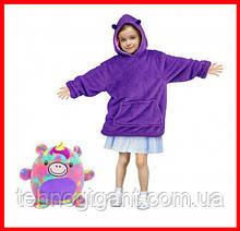 Детская Флисовая Толстовка плед Мягкая Игрушка Балахон с Капюшоном 2в1 для Девочки Фиолетовый Единорог
