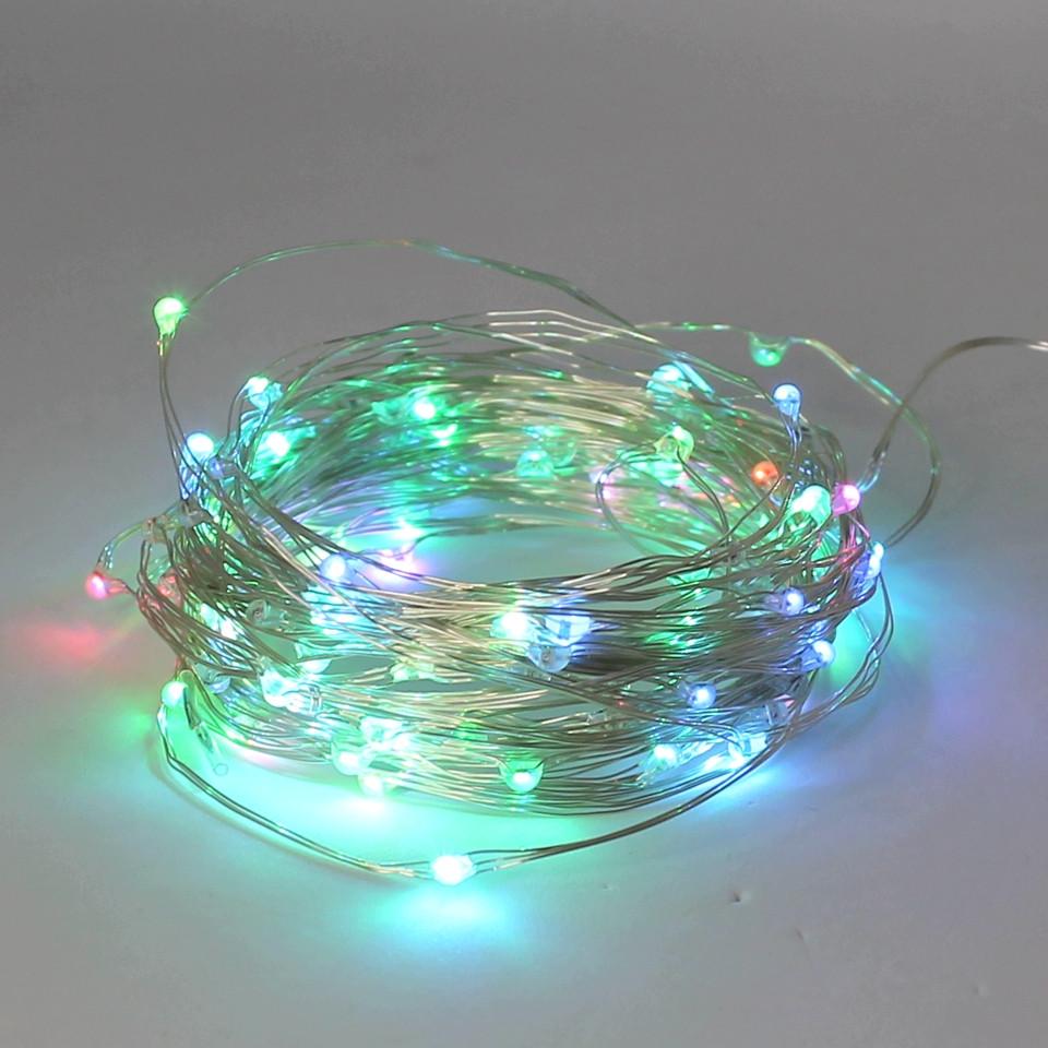 Світлодіодна гірлянда 100 LED 10м USB мідна дротяна нитка Роса RGB RD-7112 Мультиколір