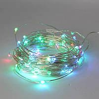 Світлодіодна гірлянда 100 LED 10м USB мідна дротяна нитка Роса RGB RD-7112 Мультиколір, фото 1