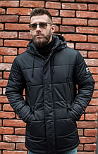 Мужская куртка пуховик Б-6 черный зима 2021