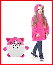 Детская Флисовая Толстовка плед Мягкая Игрушка Балахон с Капюшоном 2в1 для Мальчика Девочки розовая кошка