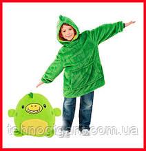 Детская Флисовая Толстовка плед Мягкая Игрушка Балахон с Капюшоном 2в1 для Мальчика Девочки зеленый динозавр