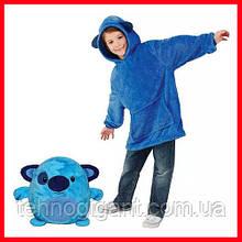 Детская Флисовая Толстовка плед Мягкая Игрушка Балахон с Капюшоном 2в1 для Мальчика Девочки Голубой Щенок