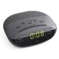 Часы электронные сетевые VST 908-2 с FM радио с Радиобудильником зеленая индикация, фото 1