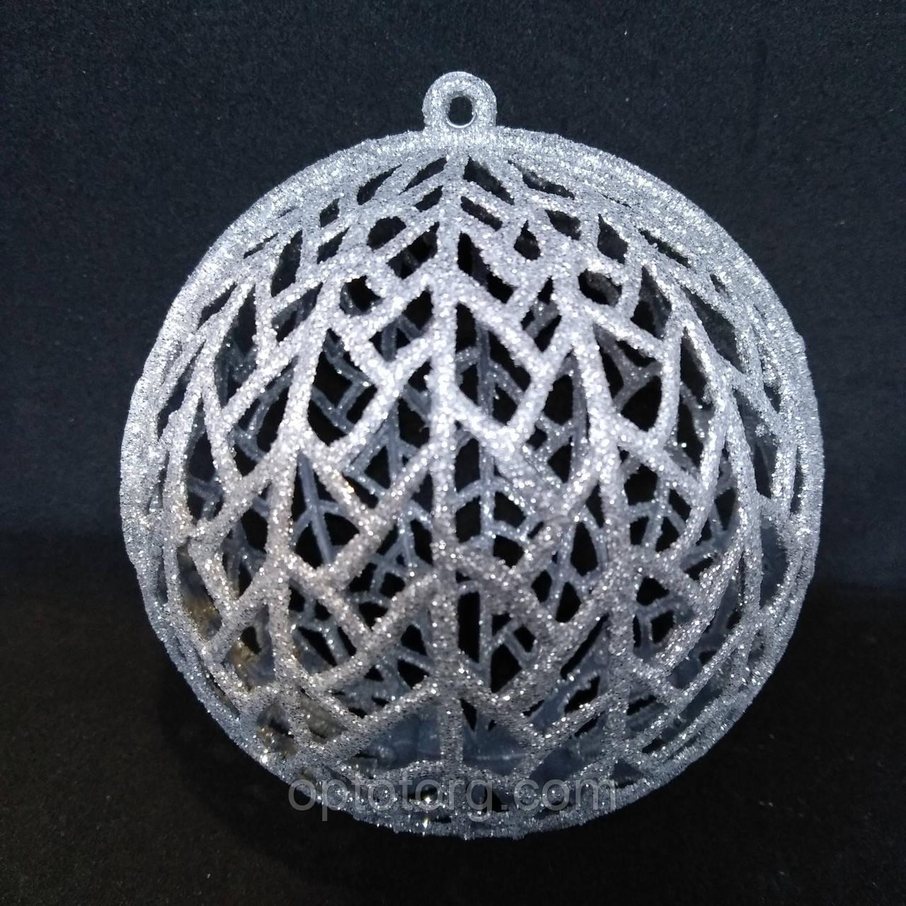Украшение на елку шар сетка серебро 10 см 5 шт