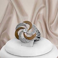 """Красивое женское кольцо из серебра 925 пробы и золотыми пластинами 375 пробы и белыми фианитами """"Алиса"""", фото 1"""
