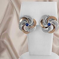 """Красивые женские серебряные серьги 925 пробы с золотыми вставками и синим камнем """"Алиса"""", фото 1"""