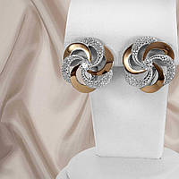 """Красивые женские серебряные серьги 925 пробы с золотыми вставками и белыми фианитами """"Алиса"""", фото 1"""