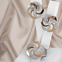 """Шикарный серебряный набор украшений 925 пробы с золотыми пластинами и белыми фианитами """"Алиса"""", фото 1"""