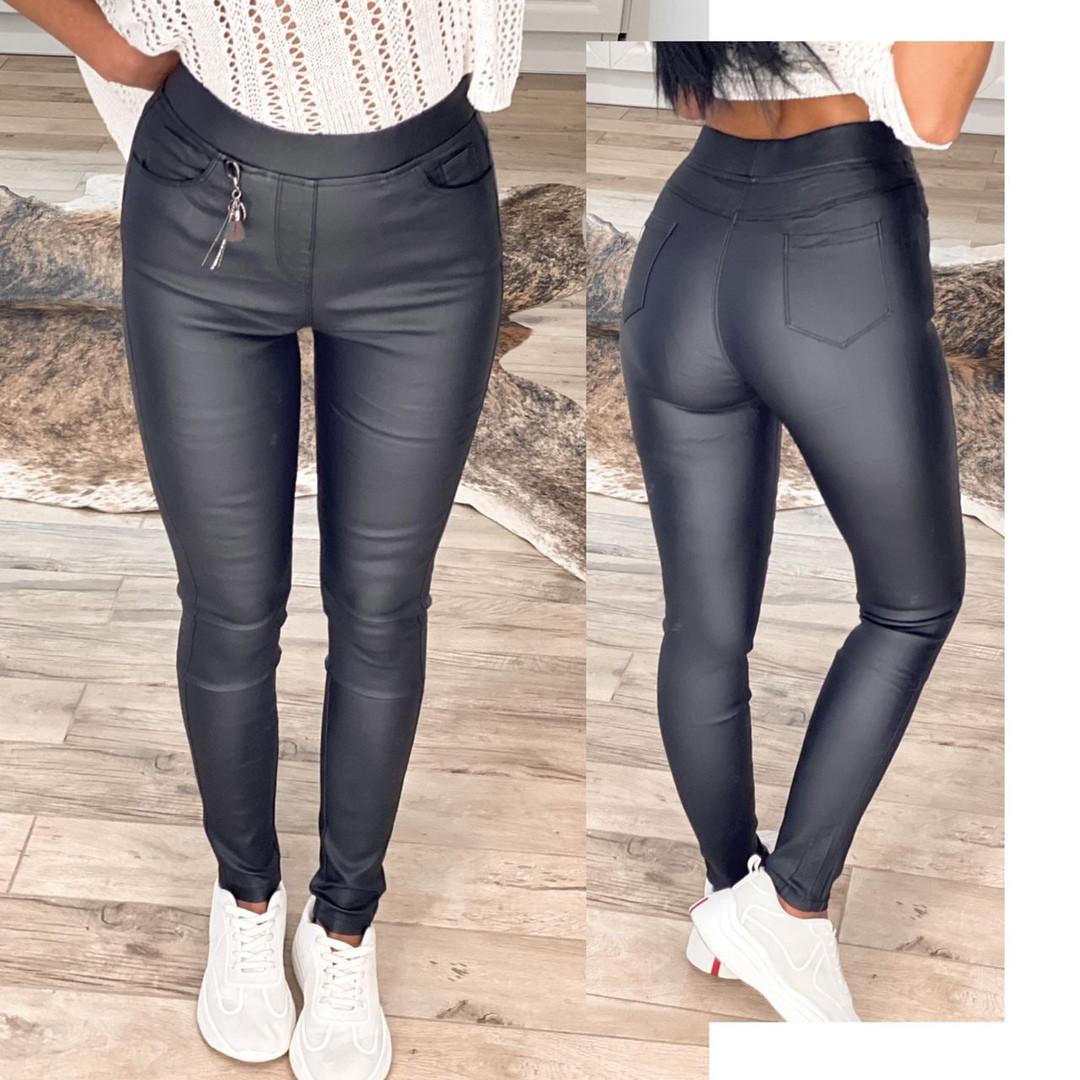 Утепленные черные женские брюки-лосины 31-6560