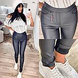 Утепленные черные женские брюки-лосины 31-6560, фото 2