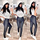 Утепленные черные женские брюки-лосины 31-6560, фото 3