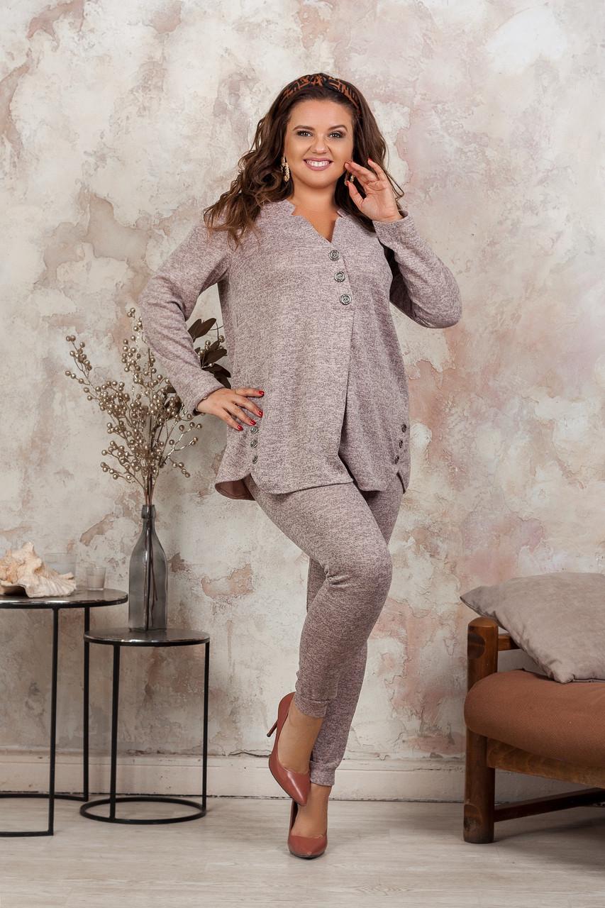 Женский теплый трикотажный костюм: штаны-лосины и свободная туника-разлетайка, норма и батал большие размеры