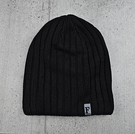 """Мужская шапка """"Flash"""" на флисе Черная - Зимняя мужская шапка """"Бекхэма"""", шапка чулок, фото 2"""
