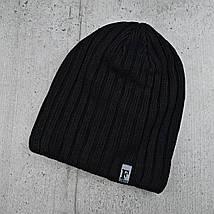 """Мужская шапка """"Flash"""" на флисе Черная - Зимняя мужская шапка """"Бекхэма"""", шапка чулок, фото 3"""