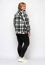 Короткая женская  куртка  в клетку из фланели, цвет чёрно-голубой, больших размеров от 48 до 58, фото 2