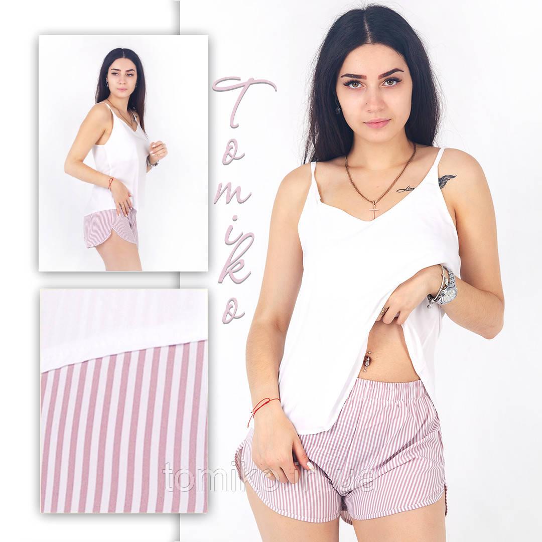 Жіноча піжамка шовкова (майка з шортами) Розміри 42-52