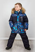 Куртка на мальчика Зима на 5-7 лет синяя