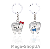 Брелок металлический для ключей (пара) Tooth Girl & Boy, фото 1