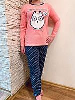 Симпатичная домашняя одежда, женская байковая пижама двойка для сна и отдыха, размер 44(S).