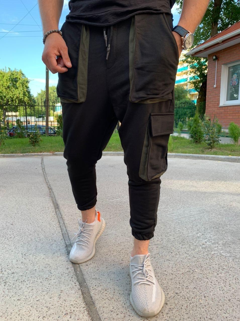 Спортивные штаны - Черные спортивные штаны свободного кроя  с большими карманами