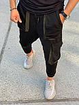 Спортивные штаны - Черные спортивные штаны свободного кроя  с большими карманами, фото 4