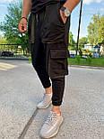 Спортивные штаны - Черные спортивные штаны свободного кроя  с большими карманами, фото 5