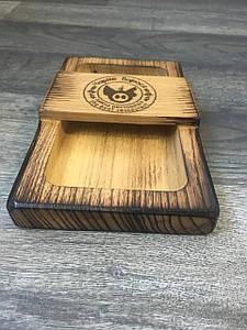 Шкатулка-счетница для чека и дене открытая Прямоугольная, деревянная