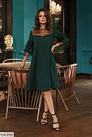 Элегантное красивое вечернее платье из креп-дайвинга с сеткой с флоком р: 42-44, 44-46 арт. 801