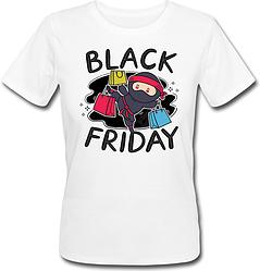 """Женская футболка """"Black Friday Ninja"""" (белая)"""