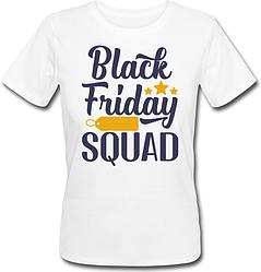 """Женская футболка """"Black Friday Squad"""" (белая)"""