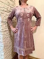 Симпатичная домашняя одежда, женский розовый пудра велюровый халатик для дома, размер 48( L).