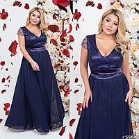Длинное вечернее платье в пол с шифоновым подолом и атласным верхом с декольте, батал большие размеры