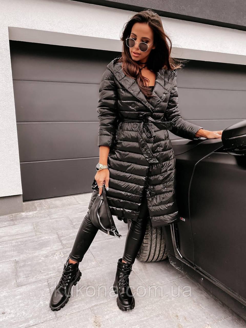 Пальто женское из плащевки; Размер: S, M, L, XL; Цвет : черный, зеленый