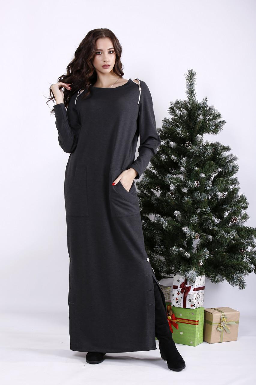 Серое длинное модное платье для полных