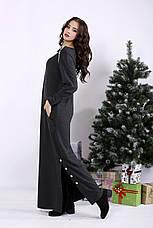 Серое длинное модное платье для полных , фото 3