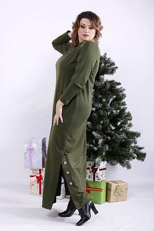Модное длинное платье хаки для полных, фото 2