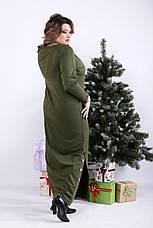 Модное длинное платье хаки для полных, фото 3