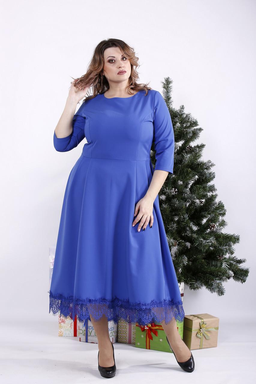 Платье миди электрик больших размеров