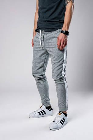 Мужские спортивные штаны с лампасами серого цвета, фото 2