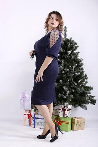 Элегантное платье синее для полных женщин, фото 2