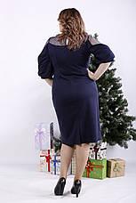 Элегантное платье синее для полных женщин, фото 3