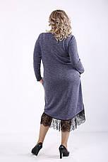 Синее платье из ангоры для полных женщин, фото 3