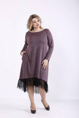 Платье больших размеров с кружевом и карманами, фото 2